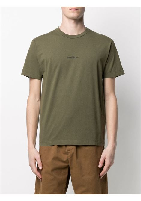 T-shirt in cotone verde con decorazione stampata logata Stone Island STONE ISLAND | T-shirt | 74152NS85V0058