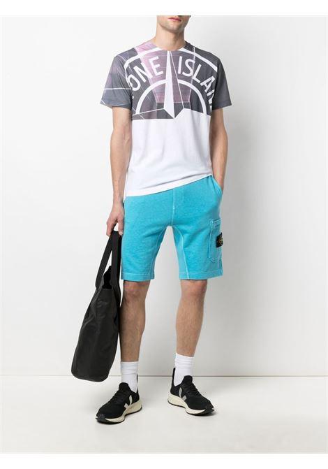 T-shirt stampata con logo Stone Island bicolore in cotone bianco STONE ISLAND | T-shirt | 74152NS86V0001