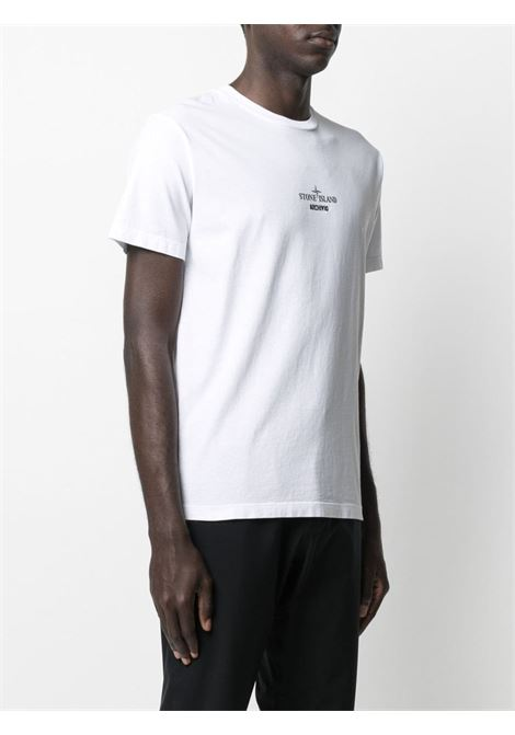 T-shirt bianca in cotone con logo Stone Island STONE ISLAND | T-shirt | 74152NS91V0001