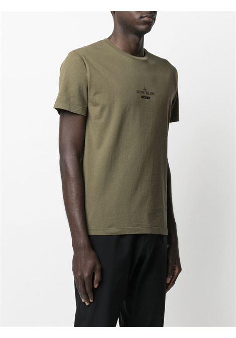 T-shirt in cotone verde con logo Stone Island STONE ISLAND | T-shirt | 74152NS91V0058
