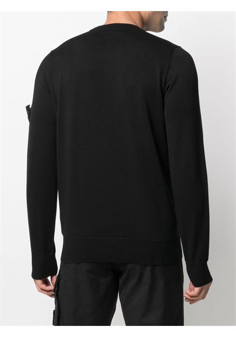 Black cotton knitted jumper featuring  round neck STONE ISLAND |  | 7415504B2V0029