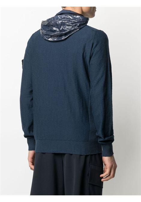 Cardigan con zip in cotone blu scuro con logo Stone Island STONE ISLAND | Cardigan | 7415525B0V0024