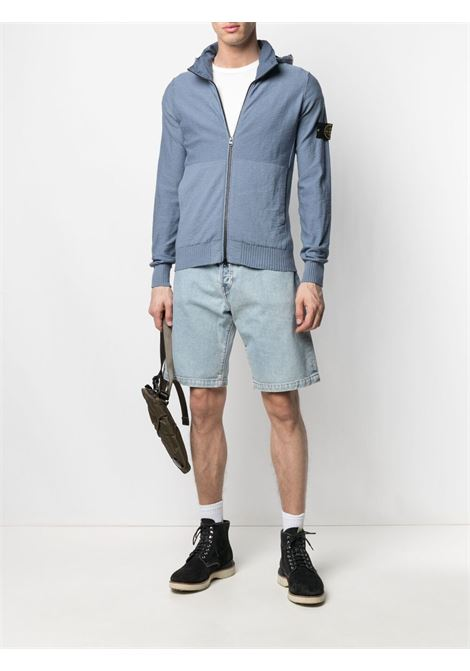 Felpa con cappuccio in maglia di cotone blu e grigio con zip e logo Stone Island STONE ISLAND | Cardigan | 7415525B0V0046