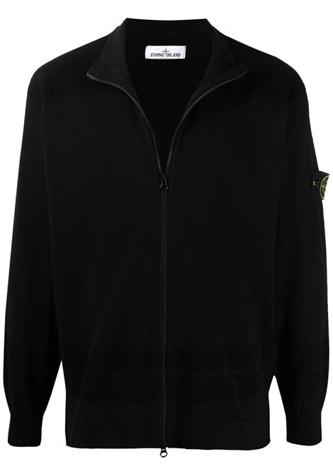 Black cotton cardigan featuring Stone Island logo patch at the sleeve STONE ISLAND |  | 7415531B4V0029