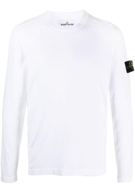 Felpa in cotone bianco girocollo a maniche lunghe STONE ISLAND   Maglieria   7415532B9V0001