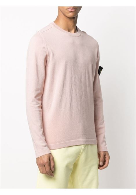 Blush cotton crewneck jumper featuring Stone Island logo patch on the long sleeves  STONE ISLAND |  | 7415532B9V0082