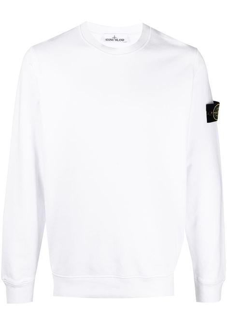 Felpa bianca in cotone con logo Stone Island sulla manica STONE ISLAND | Felpe | 741563051V0001