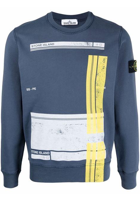 felpa a maniche lunghe in cotone blu avion logo Stone Island STONE ISLAND | Felpe | 741563095V0024