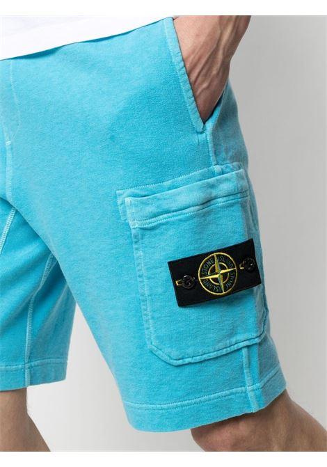 Blue cotton fleece shorts featuring elasticated drawstring waistband STONE ISLAND |  | 741563560V0142