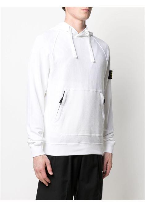 Felpa in cotone bianco con cappuccio in jersey di pile STONE ISLAND | Felpe | 741563860V0001