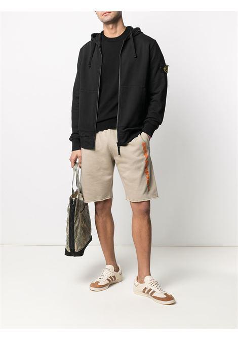 Felpa con zip in cotone nero con cappuccio STONE ISLAND | Felpe | 741564251V0029