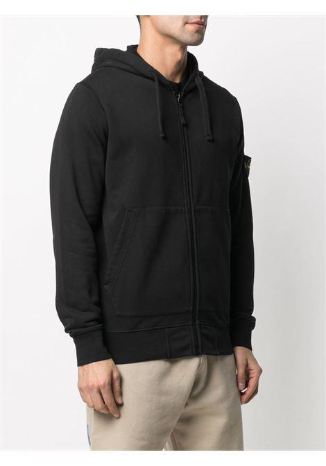 Black cotton zip-up hoodie featuring jersey fleece STONE ISLAND |  | 741564251V0029