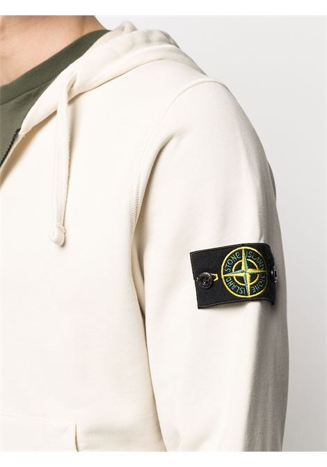 Ivory white cotton drawstring hoodie featuring Stone Island logo patch at the sleeve STONE ISLAND |  | 741564251V0093