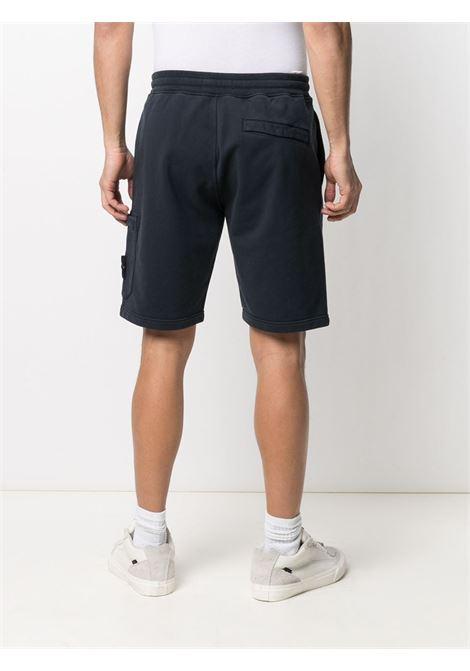 Shorts blu in cotone con logo Stone Island sulla gamba STONE ISLAND | Bermuda | 741564651V0020