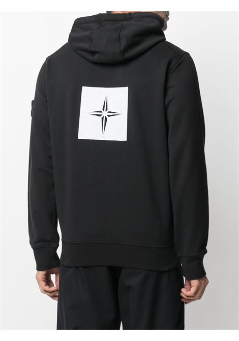 Black cotton hoodie featuring white Stone Island graphic print STONE ISLAND |  | 741565894V0029