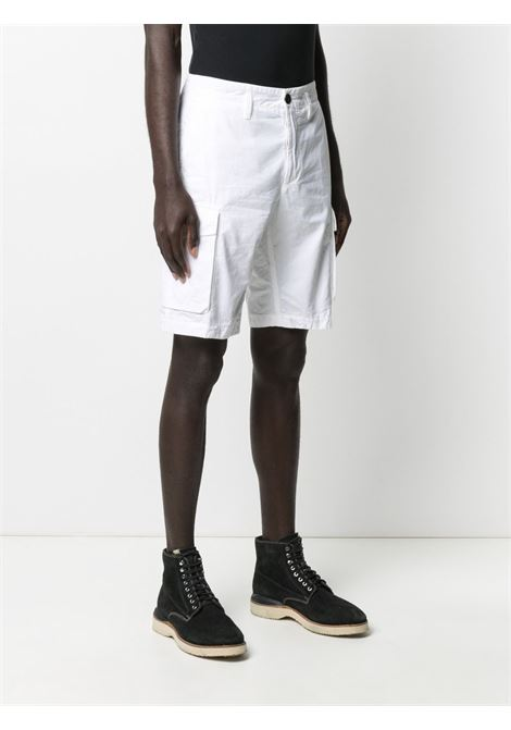 Pantaloncini chino a vita media in cotone bianco con logo Stone Island STONE ISLAND | Bermuda | 7415L07WAV0001