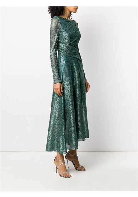 Green sheer gown featuring a round neck TALBOT RUNHOF |  | ROSSO20-GS10270