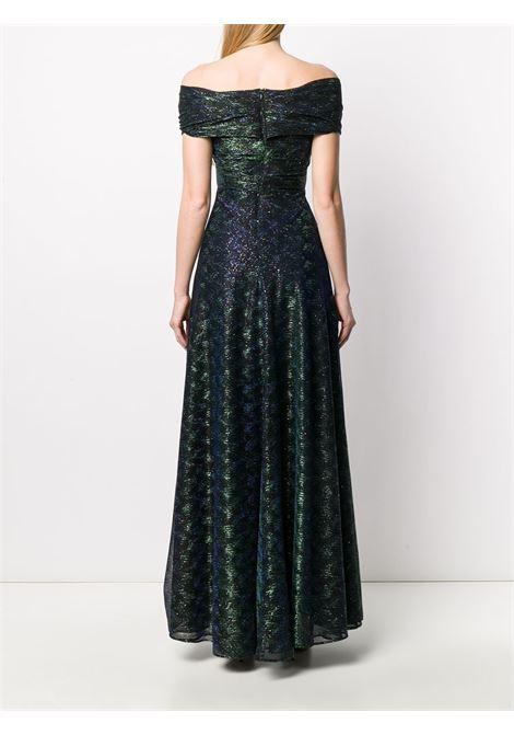 Emerald green silk and metallic voile evening dress  TALBOT RUNHOF |  | TOLINDA7-GO10220