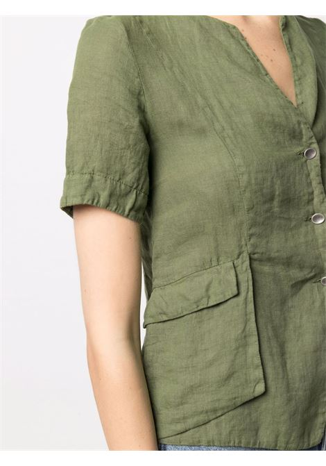Army-green linen button-up shirt  TRANSIT |  | CFDTRN-E14614