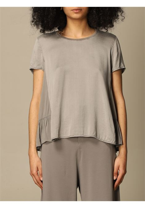 Silver-tone silk-cotton blend flared short-sleeve top  TRANSIT |  | CFDTRN-H17012