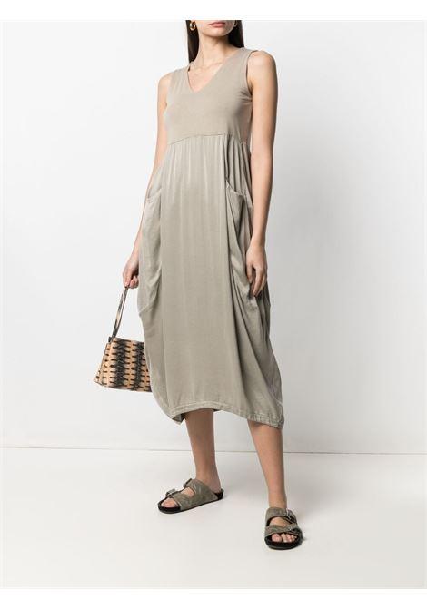 Taupe beige silk blend sleeveless shift midi dress   TRANSIT |  | CFDTRN-H17406