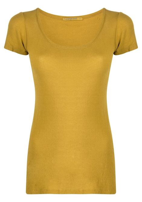 Mustard yellow cotton short-sleeve fitted top  TRANSIT |  | CFDTRN-I18103