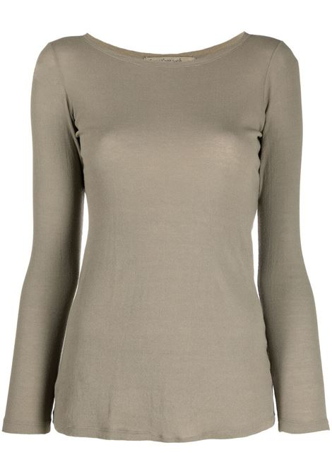Olive green cotton long-sleeve fitted top  TRANSIT |  | CFDTRN-I18206