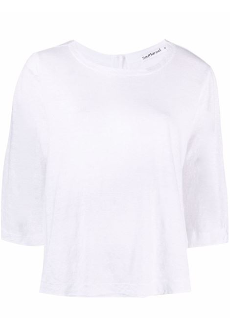 Bright-white linen U-neck button-up top  TRANSIT |  | CFDTRN-K20300