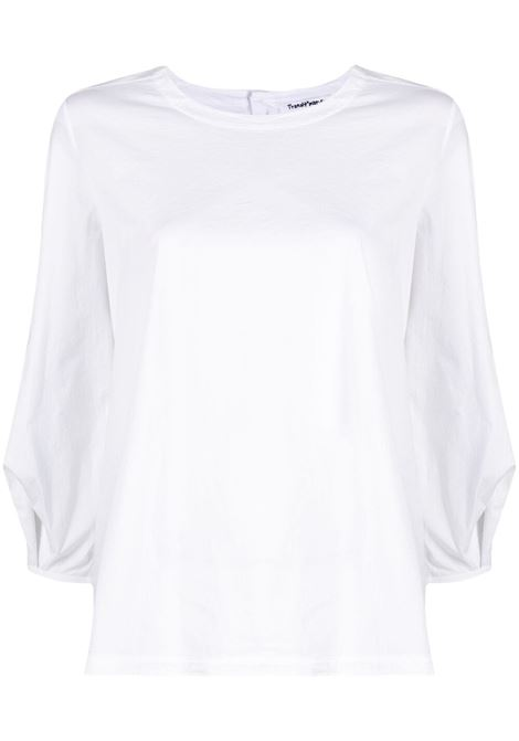 White cotton blend three-quarter sleeve blouse featuring slim cut TRANSIT |  | CFDTRN-M22100
