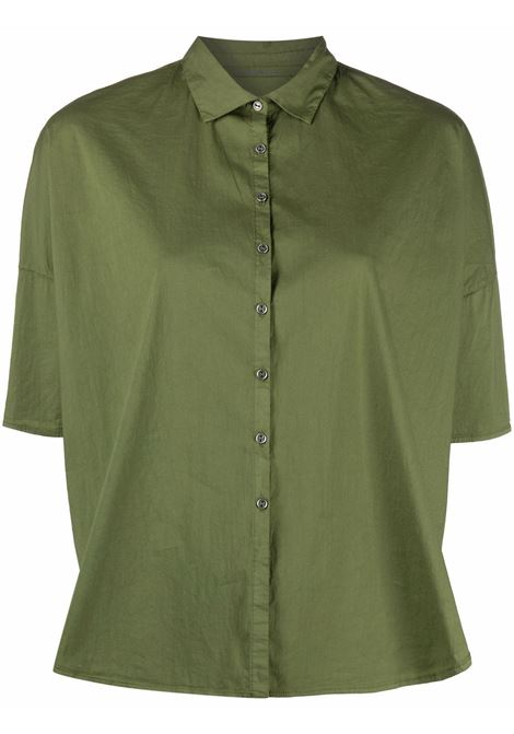 Army green cotton short-sleeved button-up shirt  TRANSIT |  | CFDTRN-M22314
