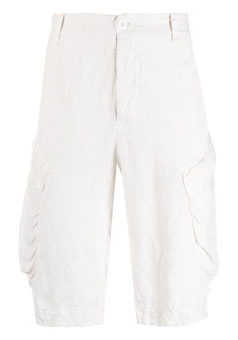 Shorts cargo al ginocchio in cotone e lino bianchi TRANSIT | Bermuda | CFUTRN-D133U01