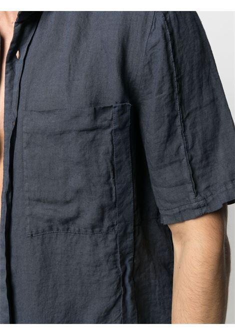 Blue linen short-sleeve shirt featuring crinkled finish TRANSIT |  | CFUTRN-V311U05