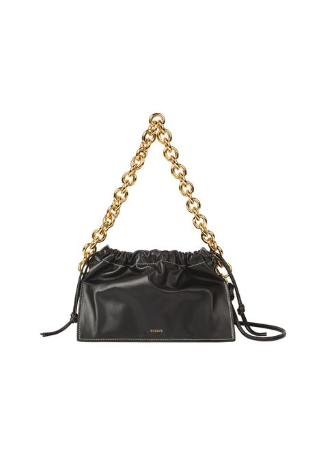 Black calf leather tote featuring gold chain-link shoulder strap YUZEFI |  | BOM-YUZCO-HB-BO00