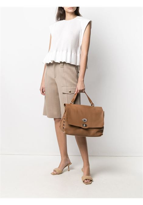 Brown leather medium Postina tote bag featuring silver-tone stud detailing and pebbled texture ZANELLATO |  | 6134-HRC3