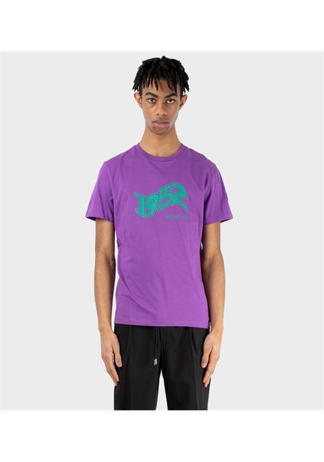 Purple cotton short-sleeved T-shirt with turquoise Moncler 1952 logo  MONCLER GENIUS |  | 8C731-10-829FB63E