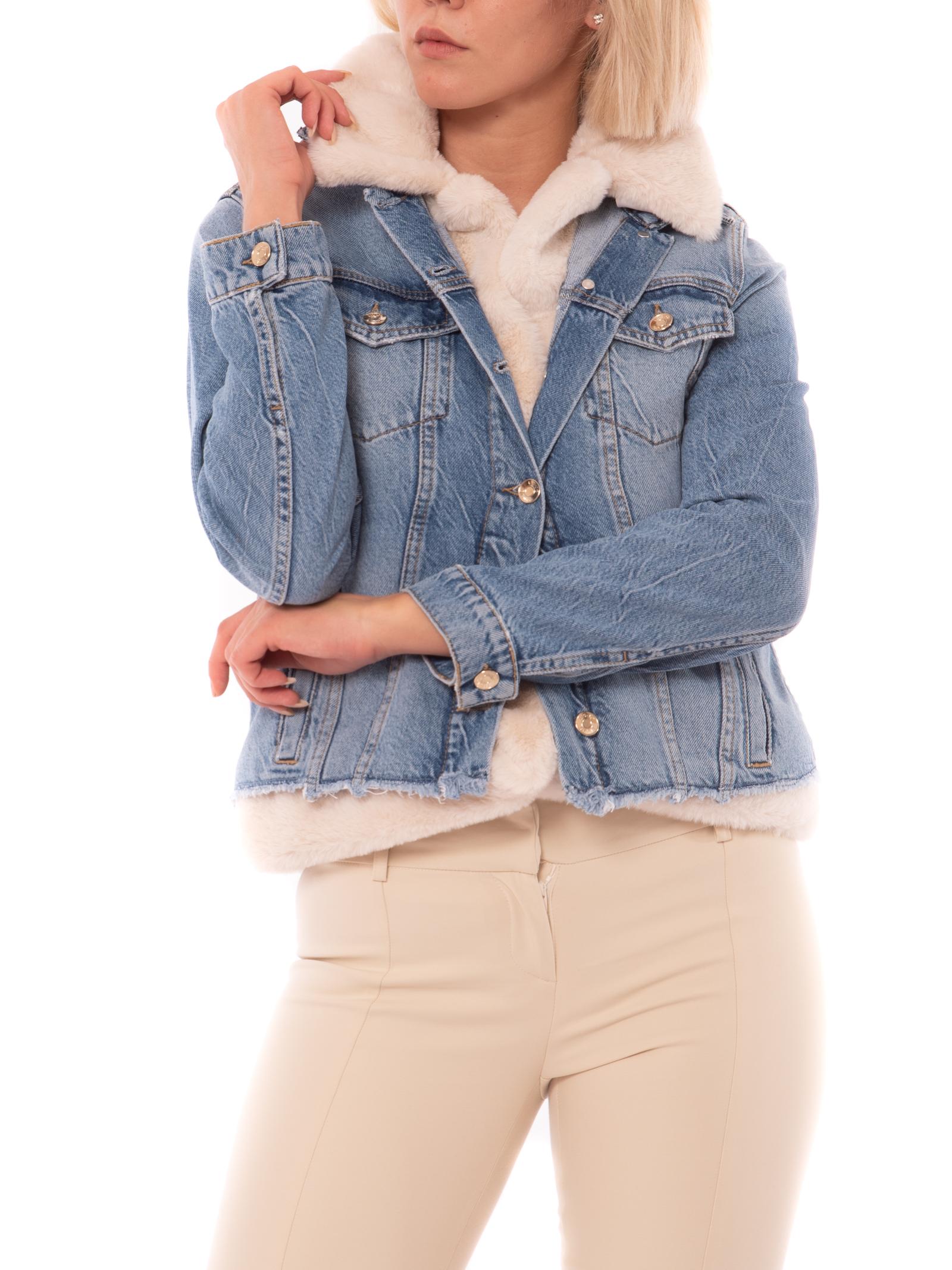 Giacca di jeans con gilet faux fur<BR/>