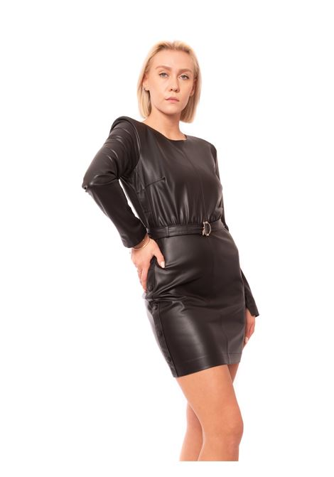 Faux leather mini dress