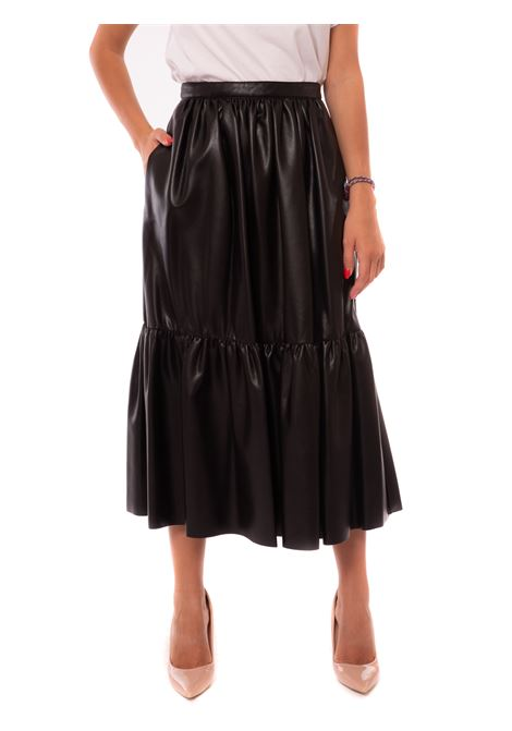 nappa leather effect maxi skirt