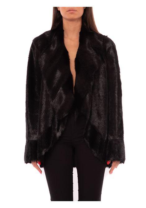 Reversible faux-mink pea coat