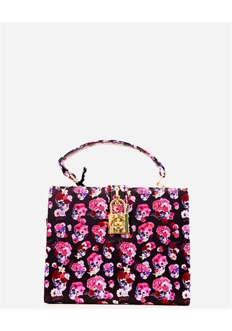 borsa con stampa teschi e fiori