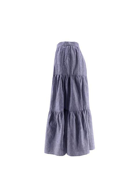 yd stripe midi skirt