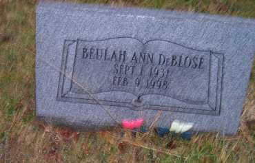DEBLOSE, BEULAH ANN - Adams County, Ohio   BEULAH ANN DEBLOSE - Ohio Gravestone Photos