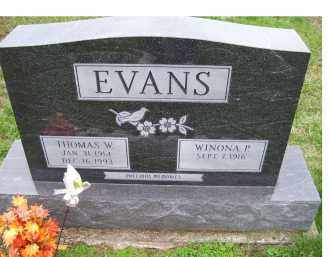 EVANS, WINONA P. - Adams County, Ohio | WINONA P. EVANS - Ohio Gravestone Photos
