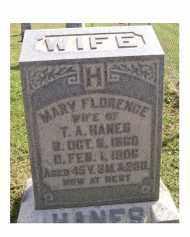 HANES, MARY FLORENCE - Adams County, Ohio | MARY FLORENCE HANES - Ohio Gravestone Photos