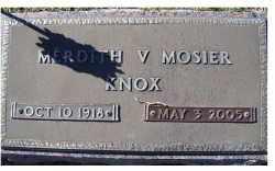 KNOX, MERDITH V. - Adams County, Ohio | MERDITH V. KNOX - Ohio Gravestone Photos