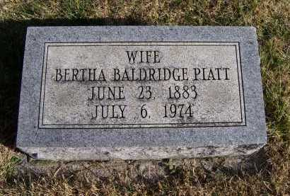 BALDRIDGE PIATT, BERTHA - Adams County, Ohio | BERTHA BALDRIDGE PIATT - Ohio Gravestone Photos