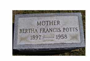 POTTS, BERTHA FRANCIS - Adams County, Ohio   BERTHA FRANCIS POTTS - Ohio Gravestone Photos