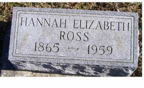 ROSS, HANNAH ELIZABETH - Adams County, Ohio | HANNAH ELIZABETH ROSS - Ohio Gravestone Photos