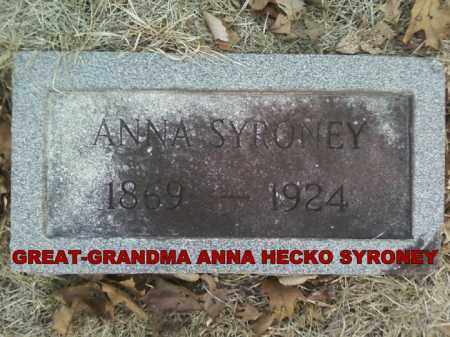 HECKO SYRONEY, ANNA - Adams County, Ohio | ANNA HECKO SYRONEY - Ohio Gravestone Photos