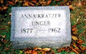 KRATZER UNGER, ANNA - Adams County, Ohio | ANNA KRATZER UNGER - Ohio Gravestone Photos
